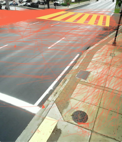 Crosswalk over heavy ped paths on intersection