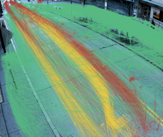 Paths of peds cars and trucks on street view