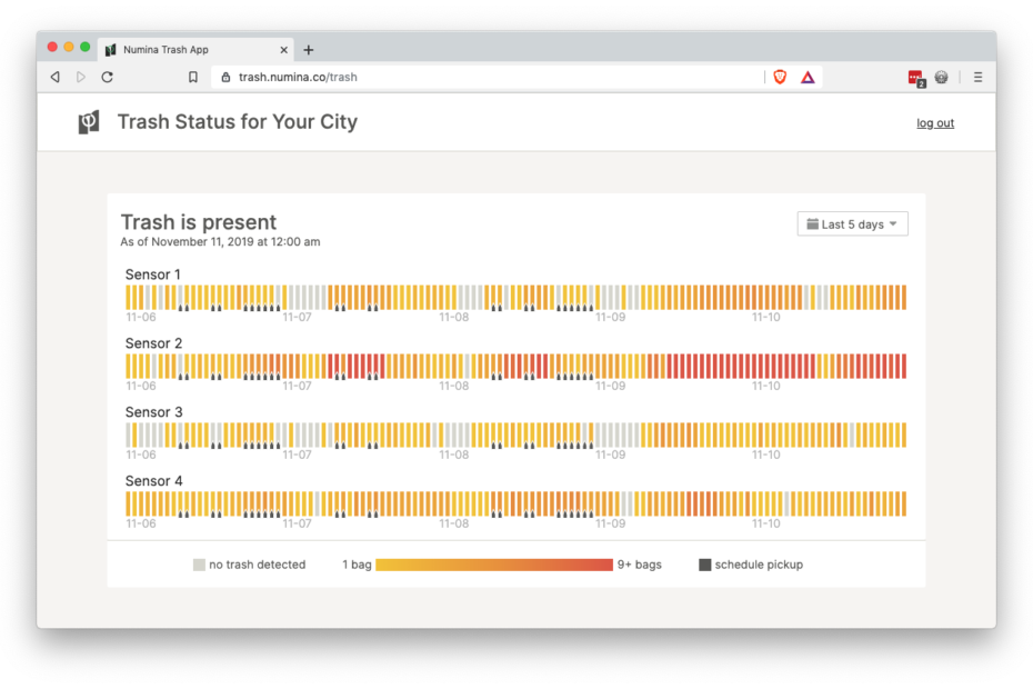 Screenshot of Numina's Trash Detection Status